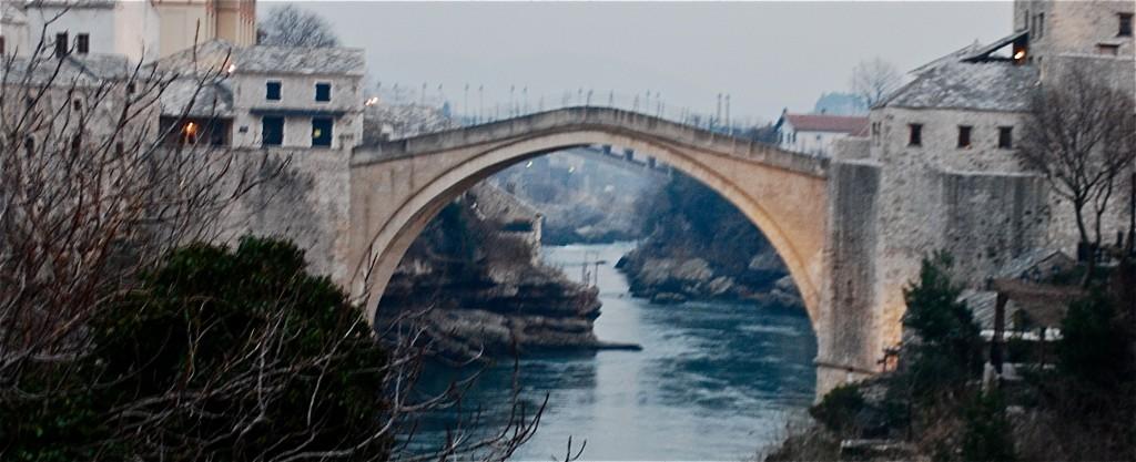 MOSTAR, Bosnia and Herzogovinia - The Stari Most, a 2004 reconstruction of the 16th C. Ottoman bridge destroyed in the 1990s Yugoslav Wars. Deborah Jones © 2011
