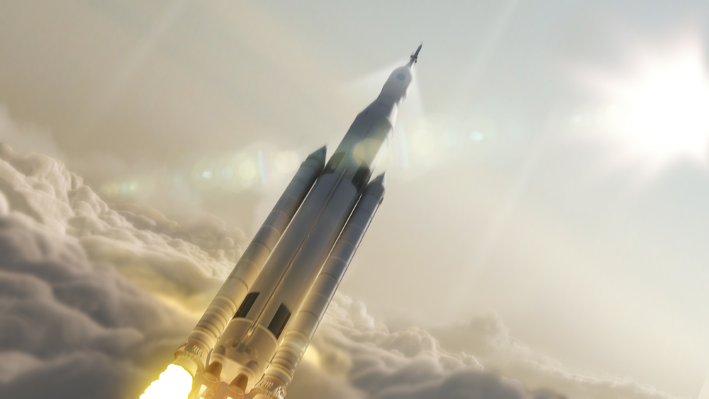 Artist concept of the Space Launch System, designed to take humans beyond Earth orbit and to Mars. The United States' National Aeronautics and Space Administration announced the rocket would move into the development phase. It will be NASA'S first exploration class vehicle to be developed since the space shuttle. Image: NASA