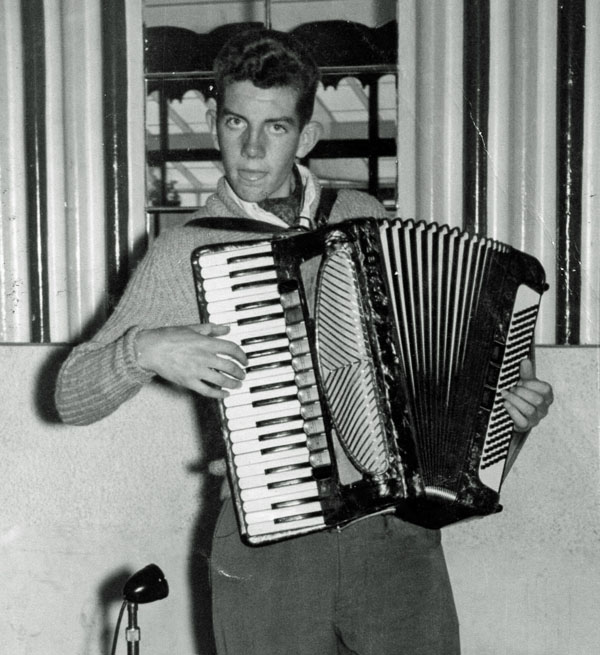 Brian Brennan, age 16, playing accordion at a talent contest in Dublin, 1960. (I didn't win, by the way!)