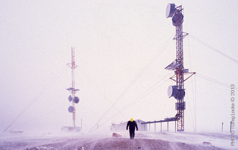 Servicing communications towers during a winter storm on the Doe Hills in Newfoundland. Photo by Greg Locke © 2013