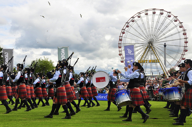 Simon Fraser University Pipe Band at the World Pipe Band Championship, Scotland, in 2011. Photo: Simon Fraser University