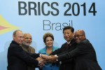 FORTALEZA, Brazil — Leaders announce a BRICS development bank at Brazil summit. Left to right: President of Russia Vladmir Putin, Prime Minister of India Narendra Modi, President of Brazil Dilma Rousseff, President of China Xi Jinping, President of South Africa Jacob Zuma. Photo: Russian government, public domain