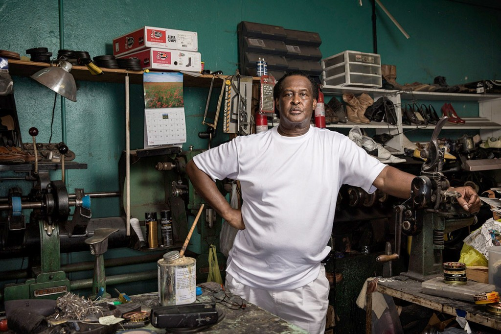 Dewitt Kimbley, 64, was born and raised in Greenwood, Miss., and runs a shoe repair business in the struggling downtown. Photo by Edmund D. Fountain, special to ProPublica. © 2014