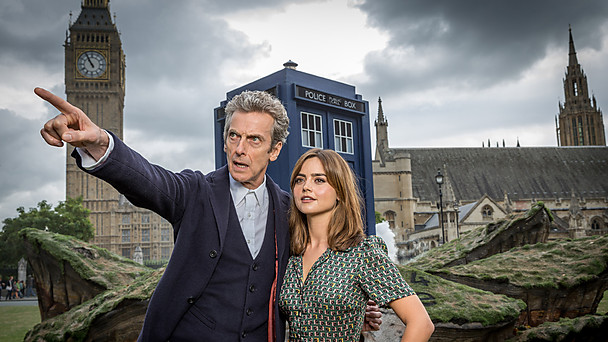 Doctor Who (Peter Capaldi) and Clara Oswald (Jenna Coleman), at the site of a specially constructed crash-landed TARDIS on London's Parliament Square. Photo: BBC publicity