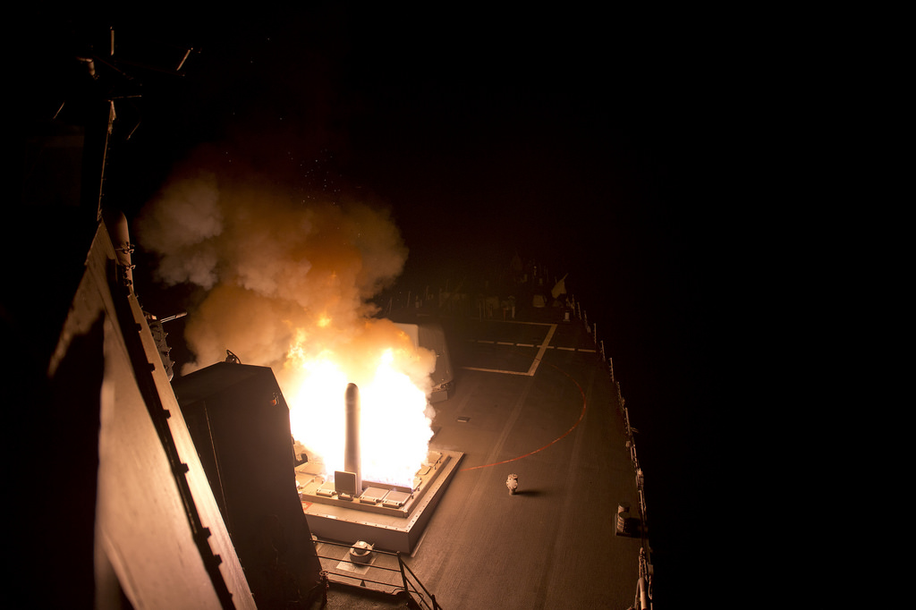"Among the 21st century weaponry the American military is deploying against columnist Jim McNiven's ""eighth century caliphate"" is the Tomahawk cruise missile. This one was launched Sept. 23 from an American warship on station in the Persian Gulf. U.S. Navy photo"