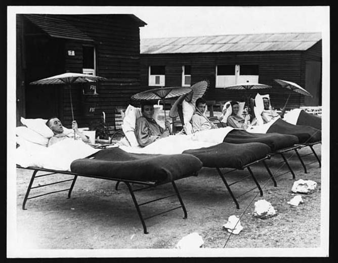 Recovering in the sun, World War I.  Photo from National Library of Scotland