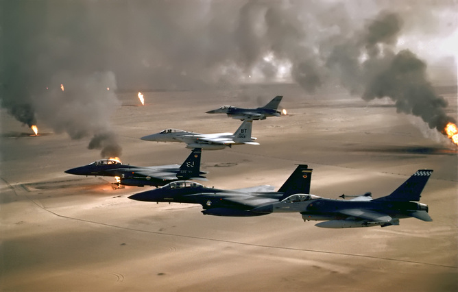 'Surgical strikes' in Operation Desert Storm, 1991. Photo by U.S. Air Force