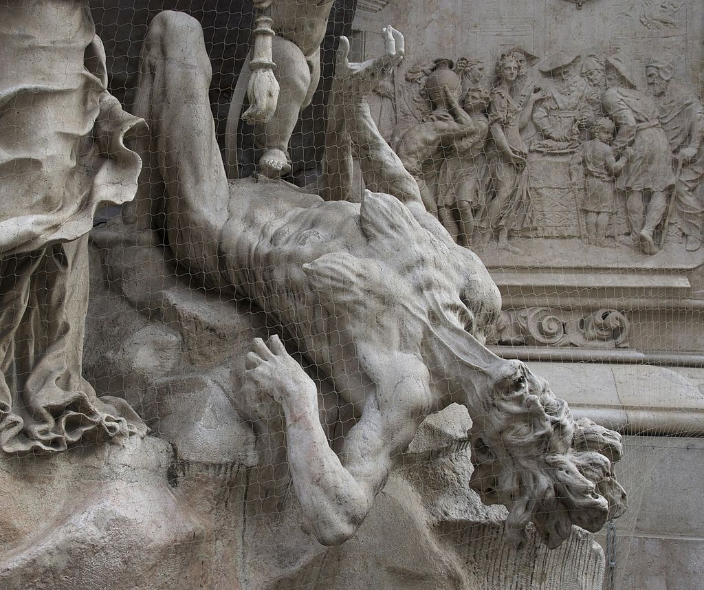 "There is no rational reason to fear Ebola in the developed world, writes Ewa Bacon, because we know the source of contagion and have methods to deal with it.  However, panic has set in.  Image: Plague is defeated -- a detail of the ""Column of the Plague"" (Pestsäule), in Graben, Vienna, Austria. Photo by Jebulon via Wikimedia, Creative Commons"