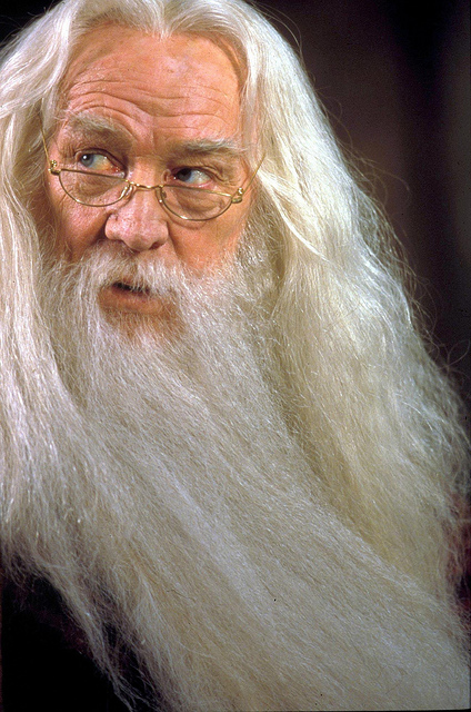 Richard Harris as Albus Dumbledore in Harry Potter and the Philosopher's Stone, 2001. Promotional photo via Flickr