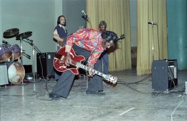 In 1979 Chuck Berry was sentenced to four months for income tax evasion. Part of his sentence was 1,000 hours of community service. While serving his sentence at the Federal Prison Camp in Lompoc, California, he performed a concert at the Federal Correctional Institution at Lompoc.  Photo by Kevin Schraer via Flickr, Creative Commons