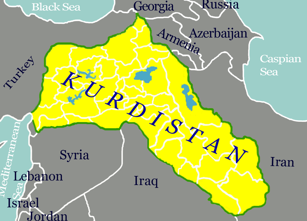 Map of Kurdistan region. Map by Ferhates, Wikipedia, Creative Commons