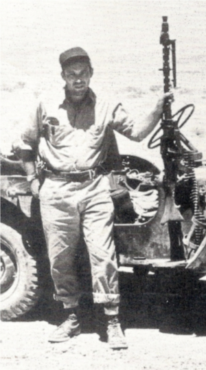 Leon Uris with a patrol in the Negev Desert, in the 1950's. Image from the Doubleday book cover of Exodus via Wikipedia.