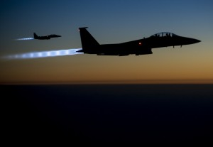 United States Air Force fighter jets over northern Iraq in Sept. 2014. Photo by Senior Airman Matthew Bruch, Creative Commons