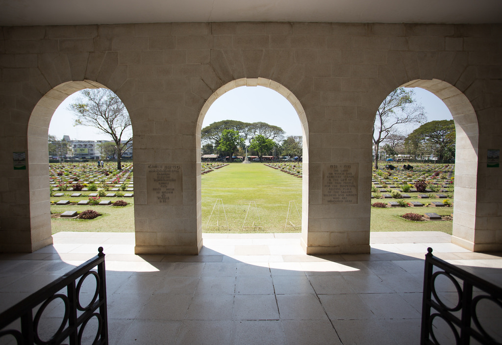 "Kanchanaburi War Cemetery, of fatalities from Japan's ""Burma Railway"" or ""Death Railway."" Photo by Morten F via Flickr, Creative Commons"