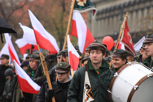 November 11 in Poland is Independence Day. Poland regained independence in 1918, after 123 years of partitions by Austria-Hungary, Germany, and Russia. Its status was fleeting: after WW II it became the People's Republic, controlled by the USSR. Since the Iron Curtain fell in 1989, Poland has again celebrated its independence every November 11. Photo of 2009 parade by Magic Madzik via Flickr, Creative Commons