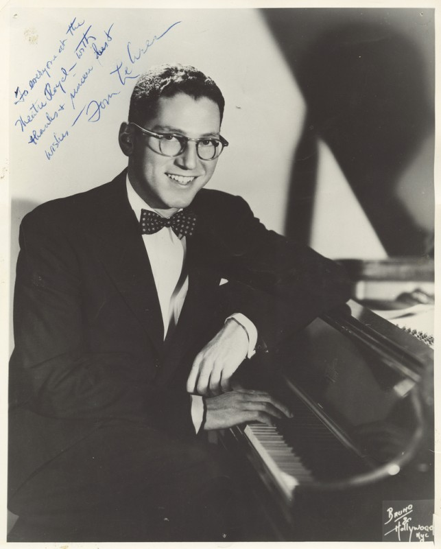 "A photo of Tom Lehrer signed, ""To everyone at the Theatre Royal - with thanks and sincere best wishes - Tom Lehrer."" Image provided by the Tasmanian Archive and Heritage Office."