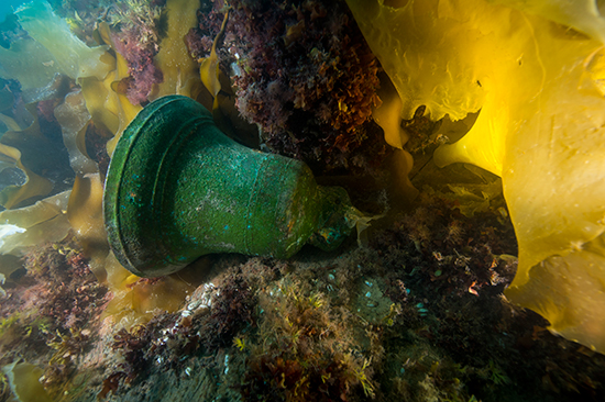 The bell of the HMS Erebus was discovered in September, 2014, on the bottom of Queen Maud Gulf. The ship, and its sister the HMS Terror, were lost in 1845 during an Arctic expedition by English captain Sir John Franklin. Photo by Thierry Boyer, © Parks Canada