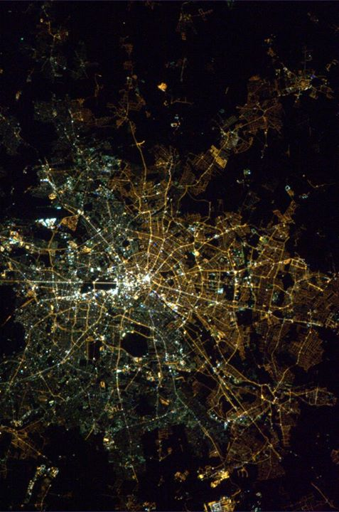 Lighting reveals the lingering divisions between East and West Berlin, with traces of the wall still visible in this 2013 photo from the International Space Station. Photo by Astronaut Col. Chris Hadfield, public domain.