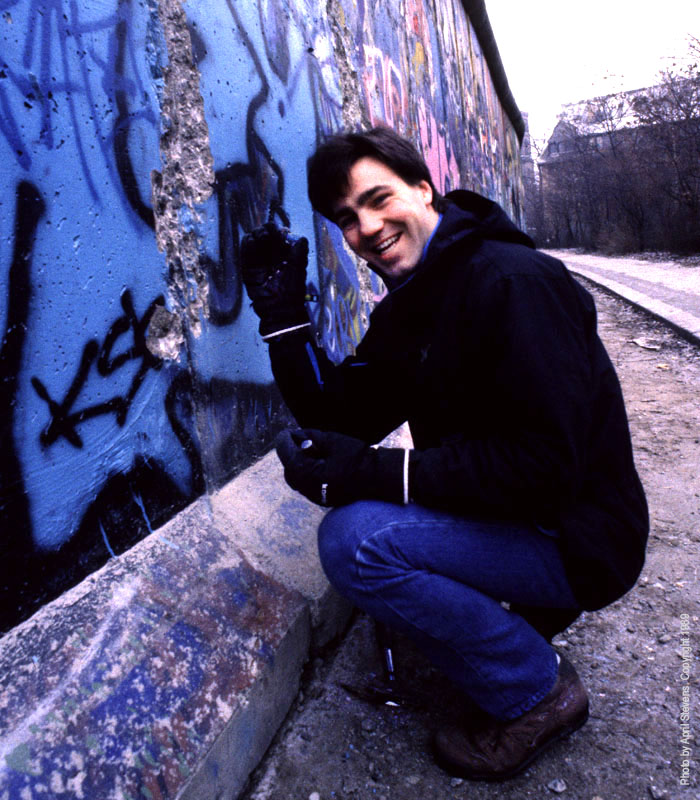 Greg Locke at the Berlin Wall in 1989. April Stevens © 1989