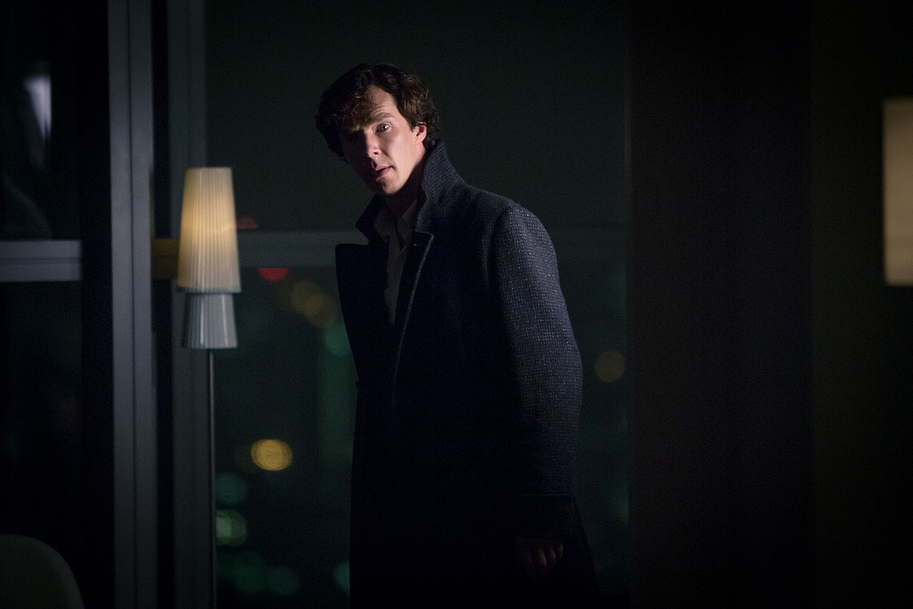 Benedict Cumberbatch as Sherlock Holmes. Publicity photo by Hartswood Films via Vlickr, by Robert Viglasky