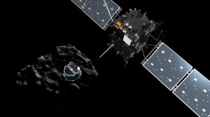 Rosetta's lander, Philae, separates from the probe en route to the comet.