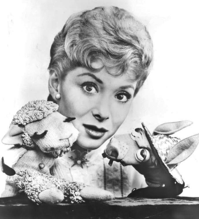 Shari Lewis and her puppets Lamb Chop and Charlie Horse, from The Ford Show, 7 April 1960. Publicity photo