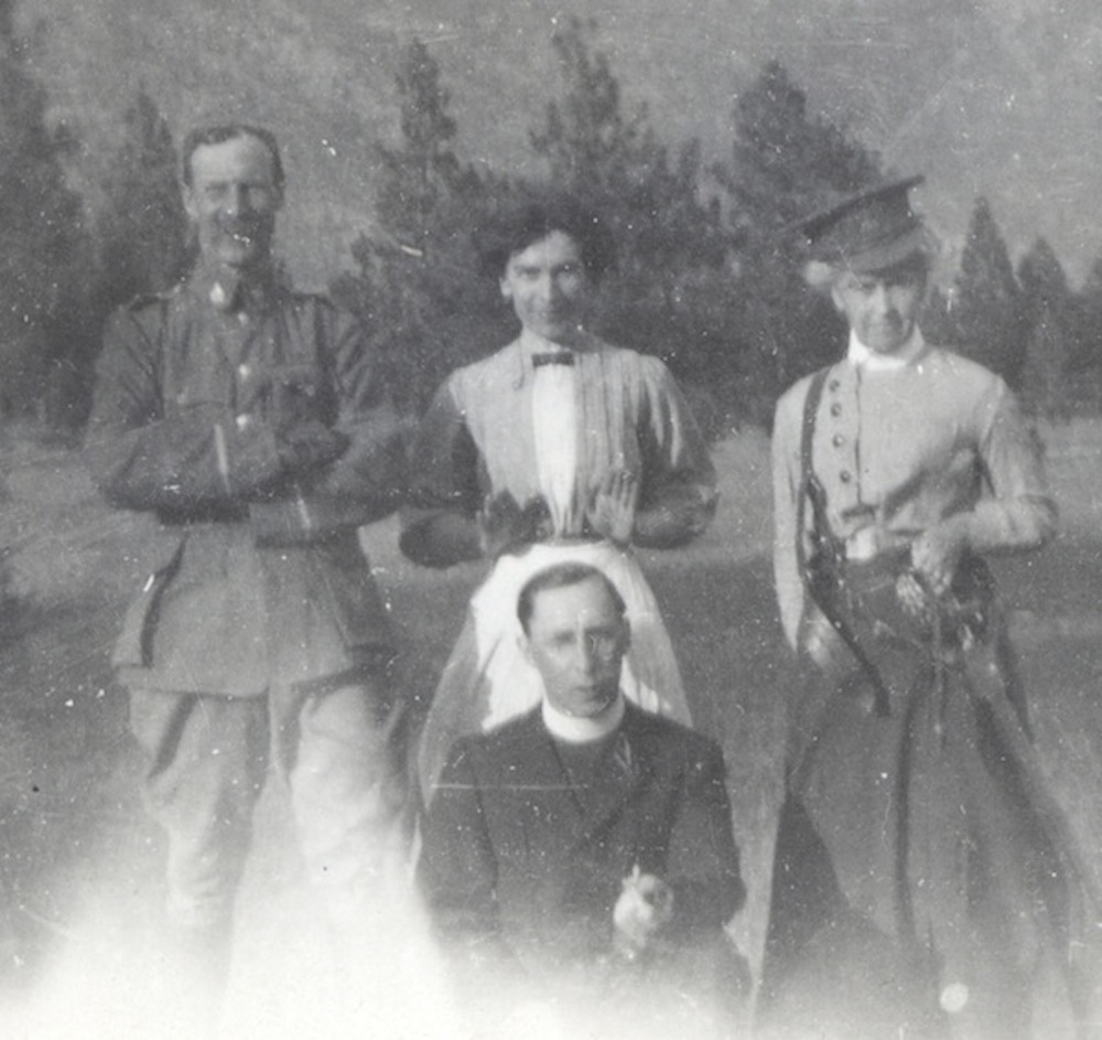 "In this photograph from the Nicola Valley Museum Jack Nash is the man in uniform enjoying a light moment with ""Miss McPhaile,"" ""Mrs. Meikle"" and James Thompson, the B.C. Horse chaplain, occasion and date not recorded.  Rev. Thompson was also a Church of England parish priest in the valley."