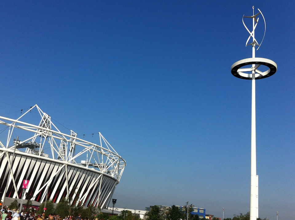 A consequential task appropriately imagined, this image of one of the vertical-axis wind turbines installed outside London's Olympic Stadium is a figurative illustration of the monumentality of the international pursuit of alternatives to fossil-fuel energy.  CREATIVE COMMONS/WIKIMEDIA
