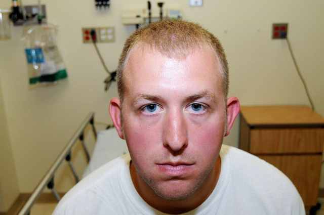Darren Wilson, photographed in a medical office after shooting dead Michael Brown in Ferguson, Missouri. Photo released by the St. Louis County Prosecutor's Office photo