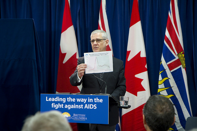 In May Vancouver's St. Paul's hospital closed its dedicated AIDS ward due to lack of patients. Julio Montaner at a news conference announcing the success of treatment. Photo from B.C. government