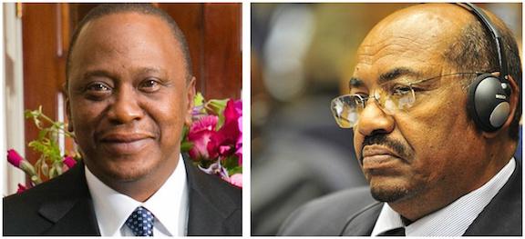 Uhuru Kenyatta, left, and Omar al-Bashir .