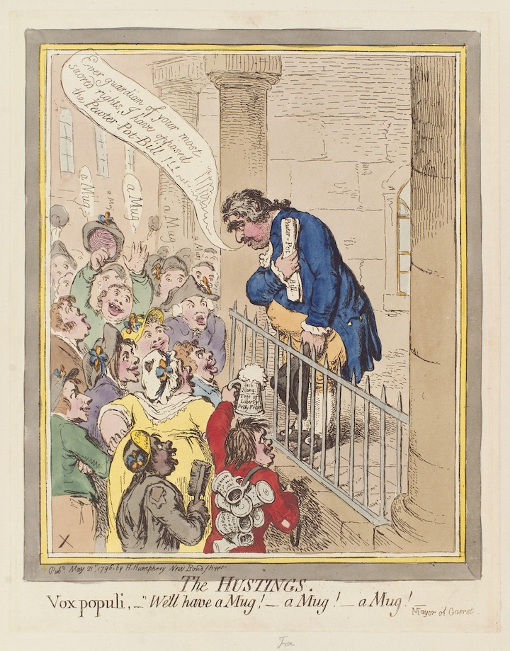 The hustings (Charles James Fox), by James Gillray published 1796. National Portrait Gallery, London, via Wikipedia Commons.