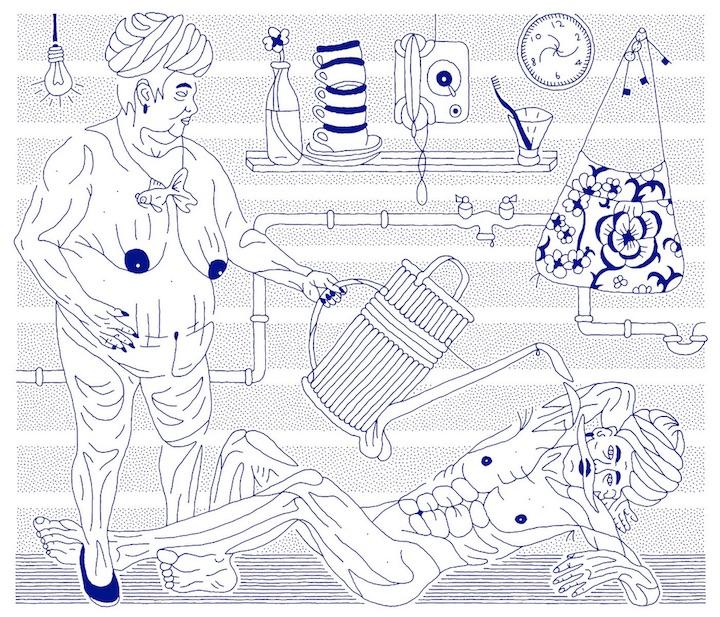 Dmitry Borshch, Waterboarding of Abu Zubaydah (Ink on paper, 24 x 28 inches, 2010)
