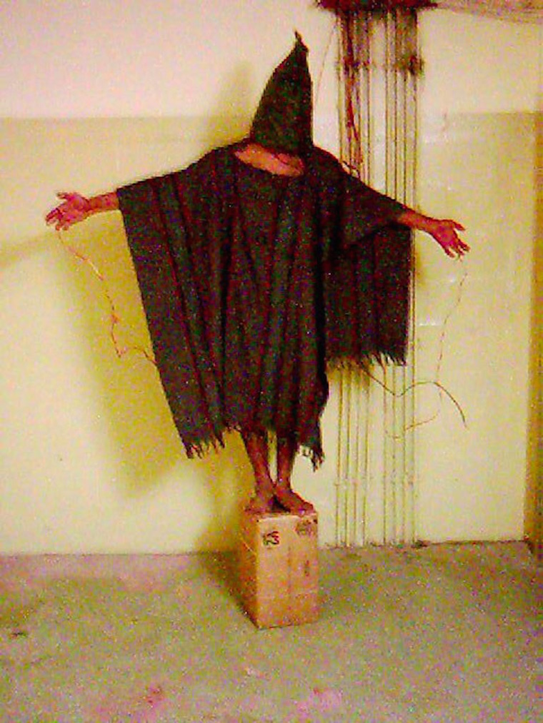 This iconic image of Ali Shallal al-Qaisi being tortured in Abu Ghraib prison, in Iraq, eventually commanded the cover of the Economist magazine.