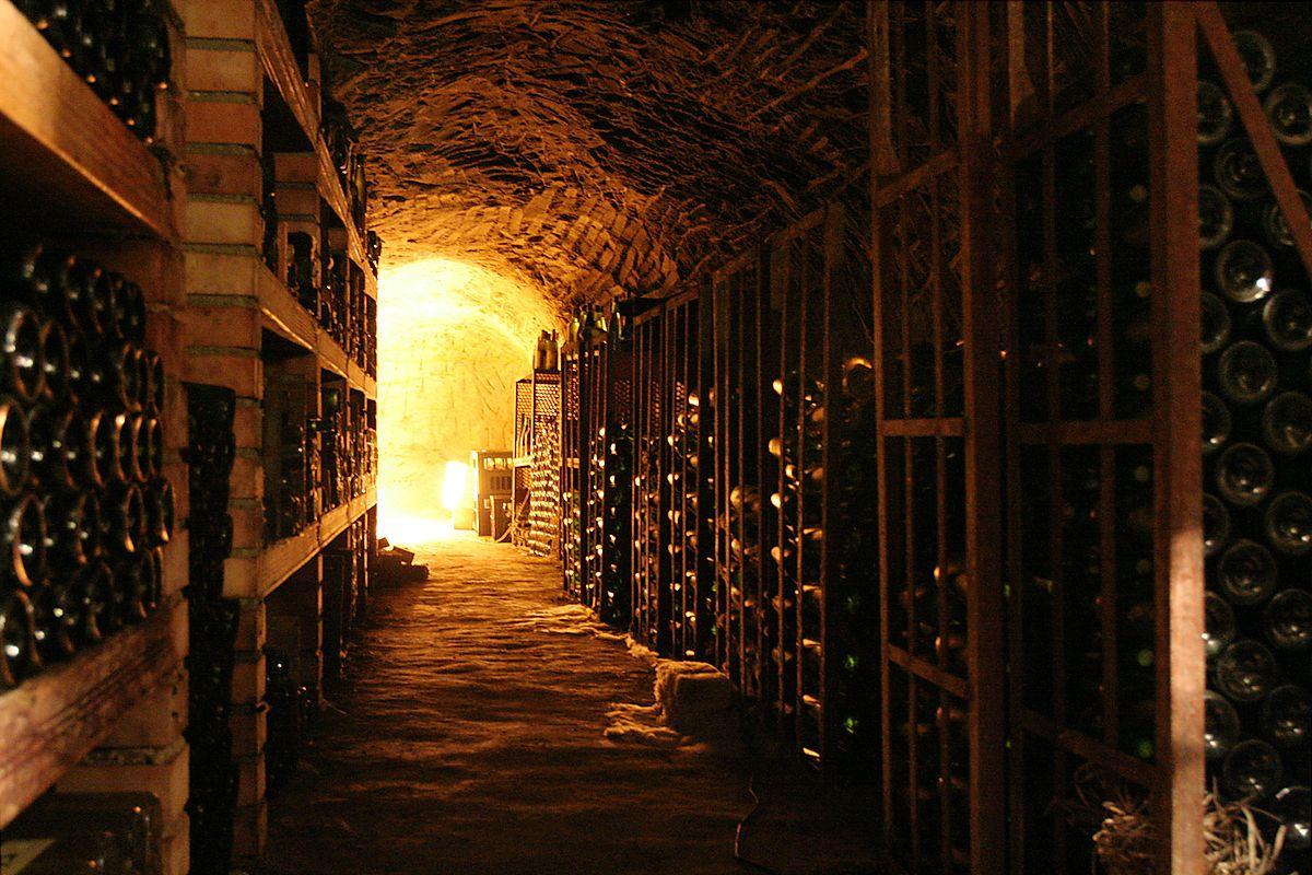 Wine cellar in Chvalovice, near Znojmo, Chekoslovakia. Photo by Petr Novák, Wikipedia