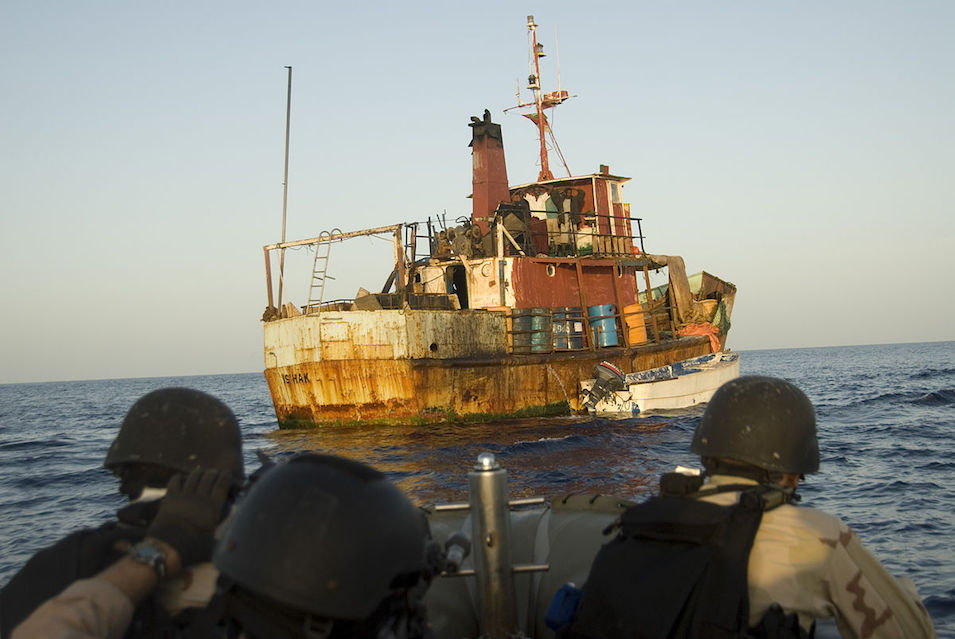 American boarders, suspected Somalian pirate ship, 2009