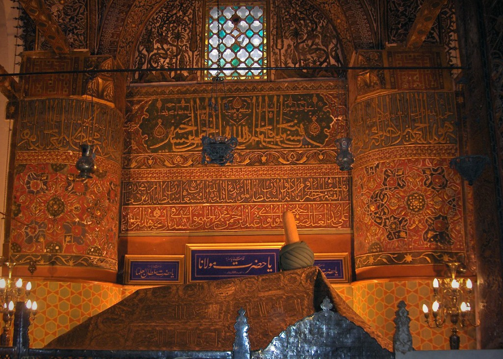 Tomb of 13 Century poet Rumi in Konya, Turkey. Photo by Georges Jansoone via Wikipedia, Creative Commons