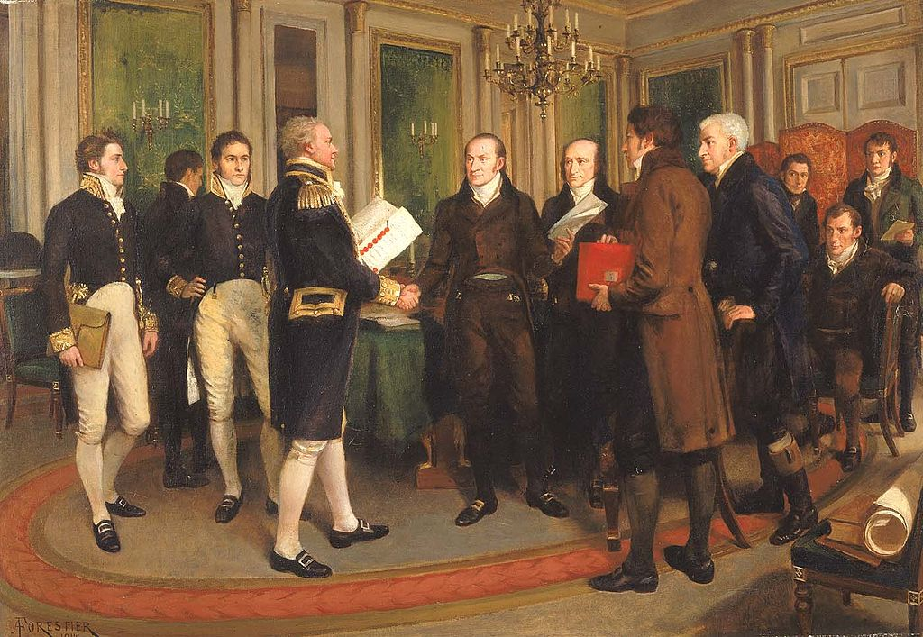 Amédée Forestier's The signing of the Treaty of Ghent, December, 1814.