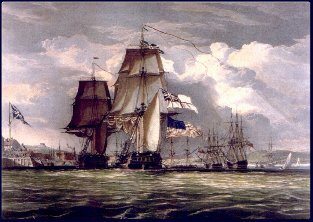 John Christian Schetky, H.M.S. Shannon Leading Her Prize the American Frigate Chesapeake into Halifax Harbour (c. 1830). Public domain via Wikipedia