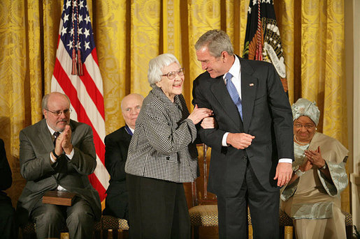Harper Lee being awarded the Presidential Medal of Freedom, November 5, 2007. White House photo by Eric Draper