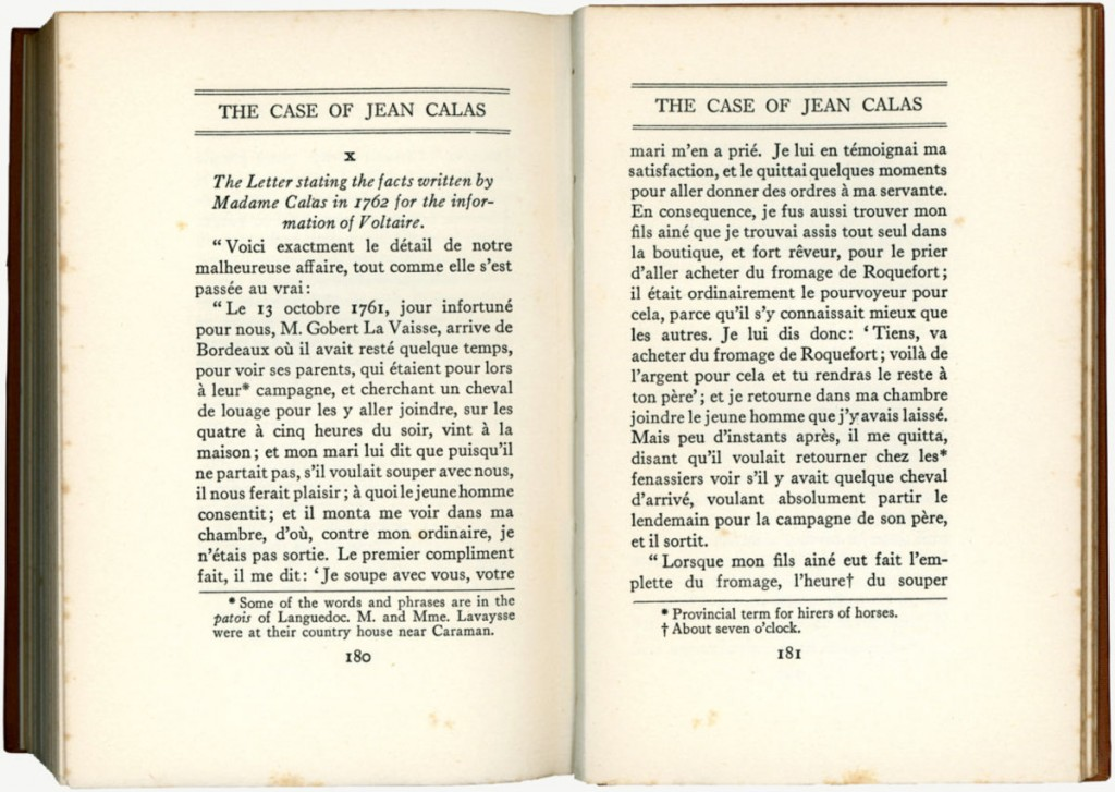"Two pages from ""The Case of Jean Calas,"" a book written by Frederic Herbert Maugham, a British lawyer and judge, in 1928."