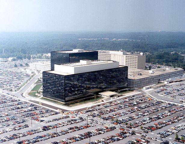 National Security Agency headquarters, Fort Meade, Maryland. U.S. government photo, public domain