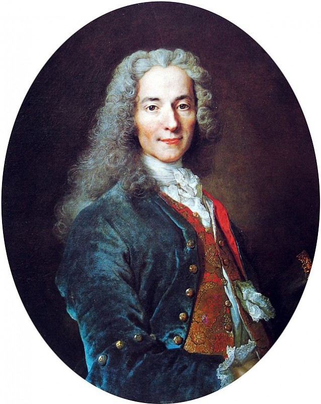 François-Marie Arouet, the writer known as Voltaire. Portrait by Nicolas de Largillière, circa 1724 via Wikipedia