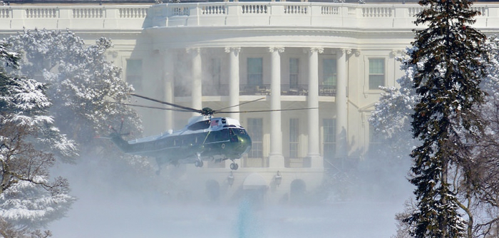Much of eastern North America has experienced unusually cold winters recently.  Above, Marine One  lifts off in snow from the U.S. White House in Washington, D.C. Photo by John Sonderman via Flickr, Creative Commons
