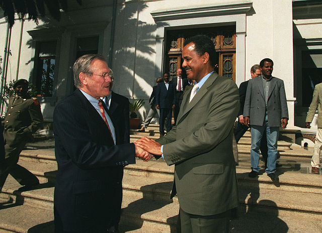 Donald Rumsfeld with Isaias Afwerki. Photo by Helene C. Stikkel, United States defence department.