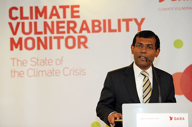 Mohamed Nasheed, then President of the Maldives, in 2009 at the launch of the Climate Vulnerability Monitor. Photo by Camadrilena via Wikipedia
