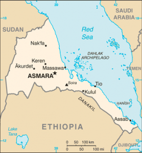 Eritrea map via Wikipedia, Public Domain