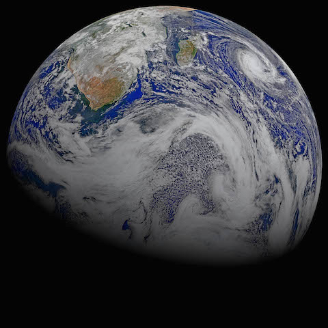 Image from NASA's gallery Celebrating Earth's Beauty. A composite of captures from the satellite Suomi-NPP, April 9, 2015, created by: Norman Kuring, NASA