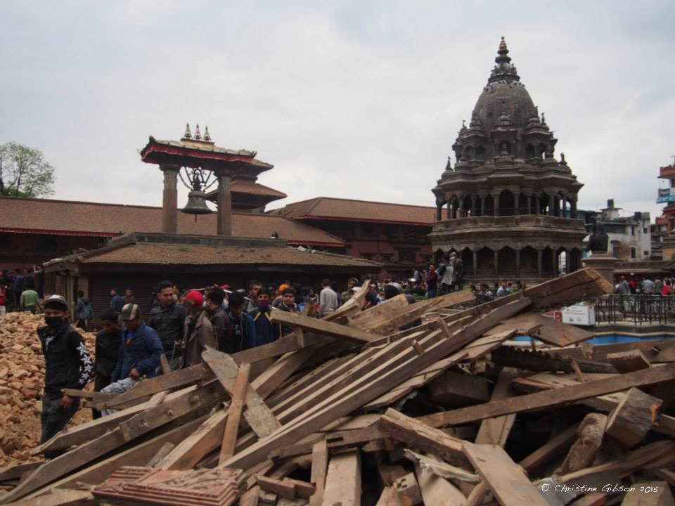 Patan Square immediately after the April 25 earthquake. Photo © Christine Gibson 2015
