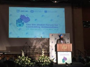 Tim Uppal, Canada's  multiculturalism minister, spoke May 13 at a forum in Israel on combating antisemitism.